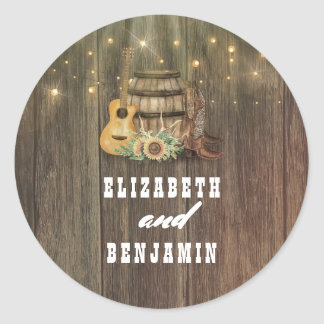 Cowboy Boots and Sunflowers Country Wedding Classic Round Sticker