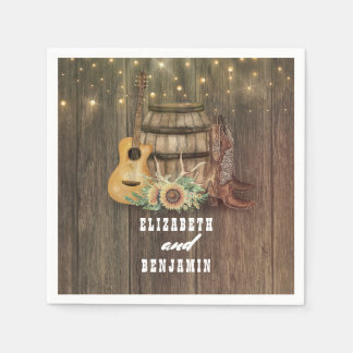 Cowboy Boots and Sunflowers Wine Barrel Paper Napkins