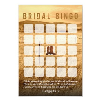 Cowboy Boots Country Bridal Shower Bingo Cards