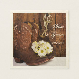 Cowboy Boots, Daisies and Horse Bit Ranch Wedding Disposable Serviette