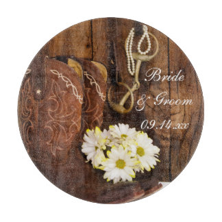 Cowboy Boots, Daisies and Horse Bit Wedding Cutting Board