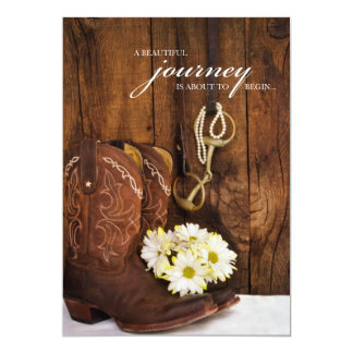 Cowboy Boots, Daisies and Horse Bit Wedding 13 Cm X 18 Cm Invitation Card