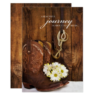 Cowboy Boots, Daisies and Horse Bit Wedding Invite