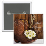 Cowboy Boots, Daisies Horse Bit Country Wedding 15 Cm Square Badge