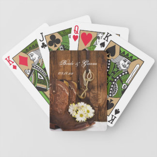 Cowboy Boots, Daisies, Horse Bit Country Wedding Bicycle Playing Cards
