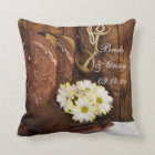 Cowboy Boots, Daisies Horse Bit Country Wedding Cushion