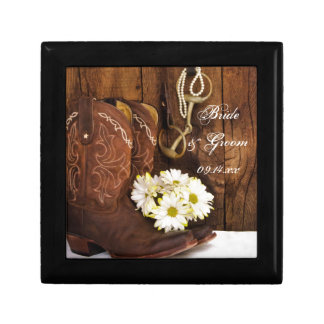 Cowboy Boots, Daisies Horse Bit Country Wedding Gift Box