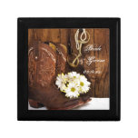 Cowboy Boots, Daisies Horse Bit Country Wedding Small Square Gift Box