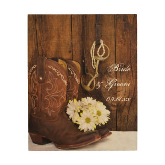 Cowboy Boots, Daisies, Horse Bit Country Wedding Wood Wall Art