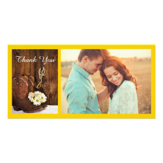 Cowboy Boots, Daisies Horse Bit Wedding Thank You Photo Card Template