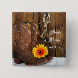 Cowboy Boots, Daisy and Horse Bit Country Wedding 15 Cm Square Badge