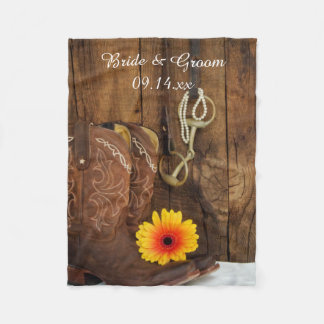 Cowboy Boots, Daisy and Horse Bit Country Wedding Fleece Blanket