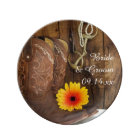 Cowboy Boots, Daisy and Horse Bit Country Wedding Plate