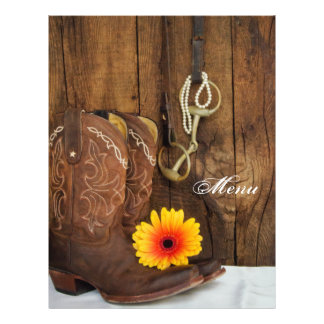 Cowboy Boots, Daisy and Horse Bit Wedding Menu 21.5 Cm X 28 Cm Flyer