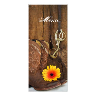 Cowboy Boots, Daisy and Horse Bit Wedding Menu Rack Card Template