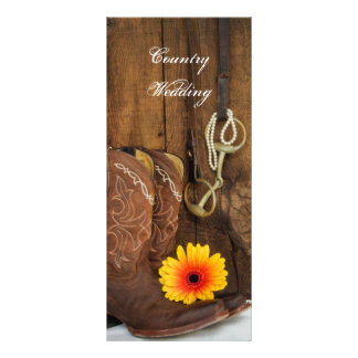 Cowboy Boots, Daisy and Horse Bit Wedding Program 10 Cm X 23 Cm Rack Card