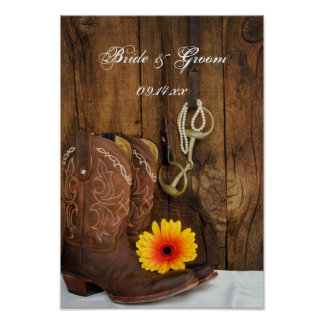 Cowboy Boots, Daisy and Horse Bit Western Wedding Poster