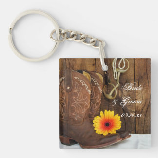 Cowboy Boots, Daisy Horse Bit Country Wedding Key Ring