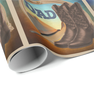 Cowboy Boots Hat And Rope DAD Gift Wrap