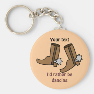Cowboy Boots Rather be Dancing Country Western Key Ring