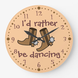 Cowboy Boots Rather be Dancing Country Western Large Clock