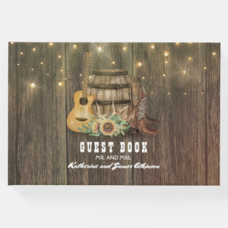 Cowboy Boots Rustic Country Wine Barrel Guest Book