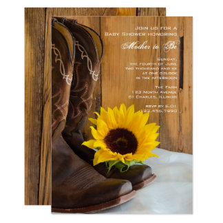 Cowboy Boots Sunflower Country Baby Shower Invite
