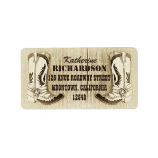 cowboy boots western address labels