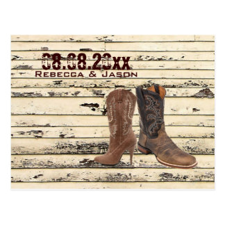 Cowboy Boots Western country Wedding save the date Postcards