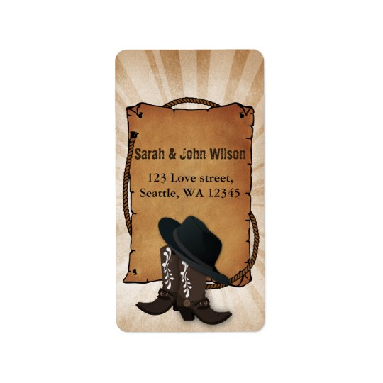cowboy boots western theme address label