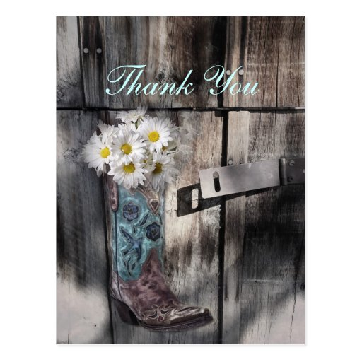 cowboy boots white daisy barn wedding thank you post cards