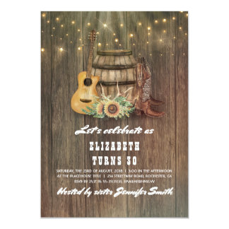 Cowboy Boots Wine Barrel Country Birthday Party Card