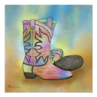 Cowboy Boots with a Splash of Color Poster
