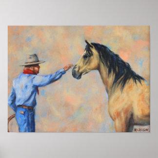 Cowboy Buckskin Horse Fine Art Print