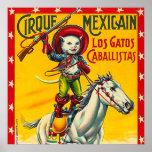 Cowboy Cat Mexican Circus Vintage Poster Art