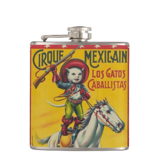 Cowboy Cat on Horse Circus Mexican Poster Art Hip Flask