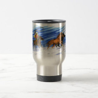 Cowboy chasing horses through the snow travel mug