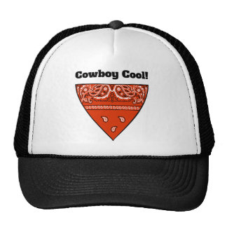 Cowboy Cool Orange Bandanna Trucker Hat