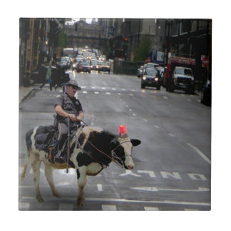 Cowboy Cop Small Square Tile