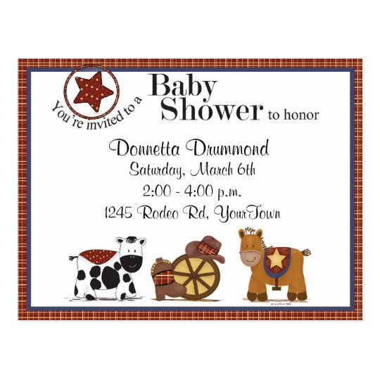 Cowboy/Cowgirl Baby Shower Invitation Postcard