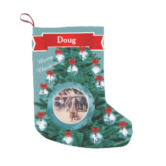 Cowboy Cowgirl Roping  Blue Custom Photo Stocking