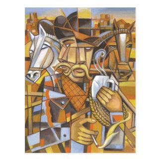 Cowboy cubism Original Art Postcard