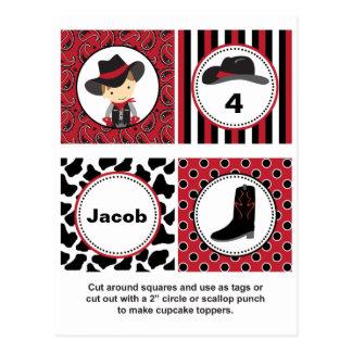 Cowboy Cupcake Toppers Postcard