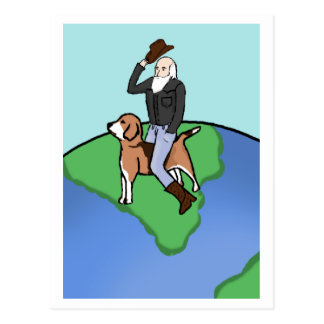 "Cowboy Darwin on ""The Beagle"" Postcard"