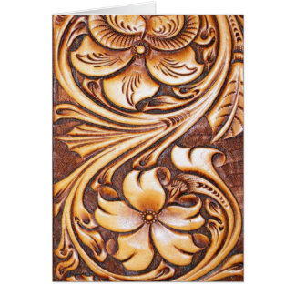 Cowboy Fashion Western Country Tooled Leather Card