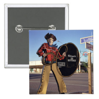 Cowboy figure sign welcoming tourists to Scottsdal 15 Cm Square Badge