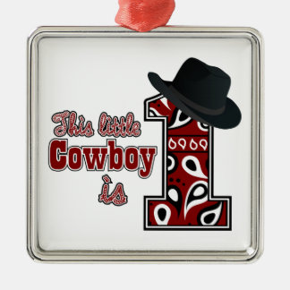 Cowboy First Birthday Silver-Colored Square Decoration