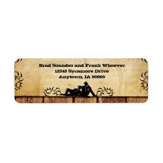Cowboy Grooms Custom Gay Wedding Return Address Return Address Label