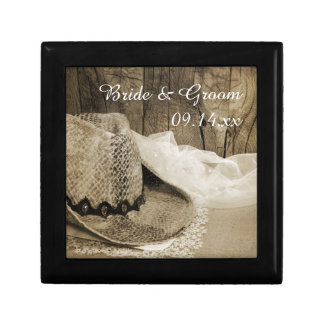 Cowboy Hat and Barn Wood Country Western Wedding Gift Box