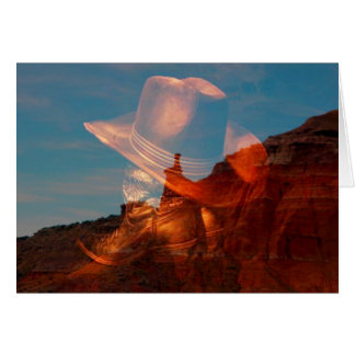 Cowboy hat and boots against Palo Duro Canyon, Tex Card